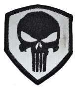 Reflective Punisher Skull 3x2.5 Shield Biker / Cosplay Iron On or Sew On Patch - Black