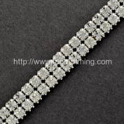 2-ROW RHINESTONE BAND W/SILVER METAL POINT SETTINGS SELLING PER YARD