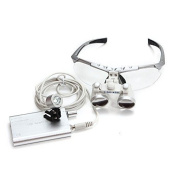 icarekit (TM) Dental Surgical Medical Binocular Loupes + LED Head Light Lamp 2.5X 320mm Silver + Aluminium Box