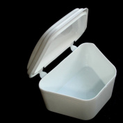 White Denture Bath Retainer Box Orthodontic Mouth Guard Dental Storage Container
