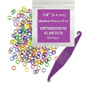 0.6cm inch Orthodontic Elastic Rubber Bands, 100 Pack, Neon, Medium Force 100ml, Small Rubberbands for making bows, Dreadlocks, Dreads, Doll Hair, Braids, Horse Mane, Horse Tail, Fix Tooth Gap in teeth, Top Knots + FREE Elastic Placer for braces
