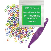 0.3cm inch Orthodontic Elastic Rubber Bands, 100 Pack, Neon, Heavy Force 130ml, Small Rubberbands for making bows, Dreadlocks, Dreads, Doll Hair, Braids, Horse Mane, Horse Tail, Fix Tooth Gap in teeth, Top Knots + FREE Elastic Placer for braces