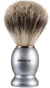 Perfecto 100% Pure Badger Shaving Brush- Silver Coloured Handle