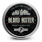 Wild Willie's Beard Butter - The Only Beard Balm with 13 Natural/Organic Ingredients to Condition and Treat Your Beard or Moustache At the Same Time. Made with Shea Butter, Yellow Beeswax, Sweet Almond Oil, Apricot Oil, Gold Jojoba Oil, Castor Oil, Arg ..
