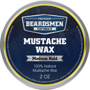Premium Moustache Wax - HUGE 60ml Metal Tin - THREE TIMES LARGER - Expert Crafted With 100% Natural Ingredients - Makes Your Moustache Look Great While Leaving it With a Fresh Woodsy Scent - With Nourishing Jojoba Oil Plus Three Essential Oils!