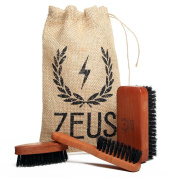 Zeus Beard Brush Kit for Men - 100% Natural Boar Bristle Brush Set for Softer and Fuller Beards and Moustaches