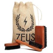 Zeus Beard Brush Kit for Men - 100% Natural Boar Bristle Brush Set for Softer and Fuller Beards and Moustaches