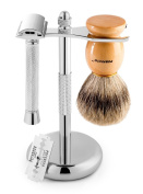Perfecto Deluxe Shaving Set,100% Badger Brush, Chrome Razor and Brush Stand and Chrome Double Edge Safety Razor