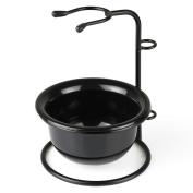 VERY100 Stainless Steel Shaving Brush Razor Stand Holder & Acrylic Shaving Bowl Mug Set