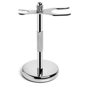 Razor and Shaving Brush Stand by Slate Shave - Chrome Silver Holder - Perfect for Wet Shaving Enthusiasts