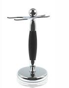 Spitalfields Shaving Company *Premium Grade* Brush and Razor Stand - Millwall 39 - Chrome with Black Trim