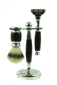 SimplyBeautiful Mach 3 Shaving Set with Razor, Stand & 100% Faux Badger Brush - Black Finish