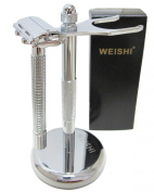 WEISHI Deluxe Zinc Alloy Razor and Brush Stand Set Includes WEISHI Deluxe Brush and Razor Stand & WEISHI 9306FL Long Handle Version HEAVY WEIGHT Butterfly Open Double Edge Safety Razor & 5 Super YingJiLi Razor Blades.