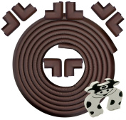 Edge & Corner Guard - 6.7m [6.2m Edging + 8 Pre-Taped Bumpers] - Extra Long – Coffee Brown - Sharp Edge Furniture Protectors, Childproof Cushion Protection - Door Slammer Guard Included