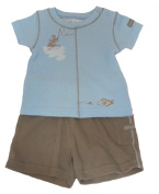 """Max and Tilly 6/12m Baby Boy """"Fly Fishing"""" Tee And Short Set - Pale Blue/Brown"""