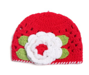Bigood(TM) Newborn Baby Handmade Crochet Beanie Hat Photograph Props Flower Red