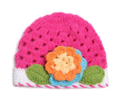 Bigood(TM) Infant Baby Handmade Knit Crochet Flowers Stretch Hat Cap Photo Props Pink