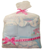 """Beau Bébé 4-piece Baby Gift Set with """"Sweet Candy"""" Pattern and Embroidery."""