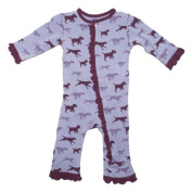 KicKee Pants Toddler-Girls Ruffle Onepiece Coverall Pyjamas- Lilac Running Lab, 3T Colour