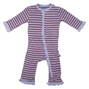 KicKee Pants Toddler-Girls Ruffle Onepiece Coverall Pyjamas- Lavender Stripe, 3T Colour