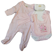 BABY BEAR Pink Patterned Cotton set of 5 Baby Set - up to 6-9 Months