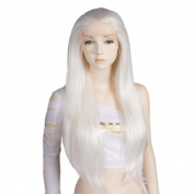 46cm - 100cm Long Straight White Fashion Party Women Lace Front Wig + Wig Cap