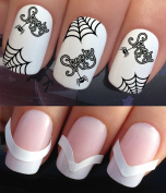 HALLOWEEN WATER NAIL TRANSFERS DECALS STICKERS ART SET #676 & 172. **plus x48 nail tip guides!!** x12 FRENCH TIP SPOOKY SPIDERS & WEBS TATTOO COSTUME PARTY WRAPS & x48 FRENCH MANICURE TIP GUIDES! CAN BE USED WITH NATURAL GEL ACRYLIC STICK ON NAILS! OR ..