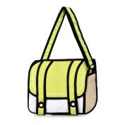 Wawoo®Hight Quality 2D Cartoon Jump from Paper Nylon Cross-body Bag Girls Shoulder Bag Schoolbag 36cm*29cm*2cm Bright Yellow