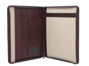 Mala Leather TORO Collection Zip Around Leather Conference Folder 5100_68 Brown