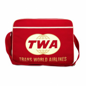 Trans World Airlines Bag Shoulder Bag Retro Look with Logo Licenced with Metal Studs, High Quality Red