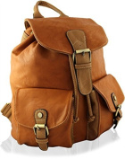 KukuBird Quality faux LARGE leather Canvas Schoolbag Backpack Rucksack