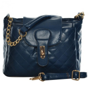 VK1492 Blue - Quilted Cross Body Bag With Chain and Lock