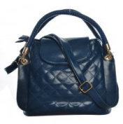 VK1491 Blue - Quilted Across Body Bag With Woven Handles