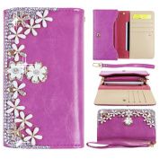 ZXK PU Leather Woman Lady Girls Clutch Wallet Purse With Zippered Multi Card Slots Mobile Phone Holder Button Closure Hand-Inlaid Clutch Wallet Pouch Bag with Portable Rope for Apple iPhone 5/5S/5C/4/4S,iPod Touch 5/4,Samsung Galaxy A3 /S4 Mini/S5mini/ ..