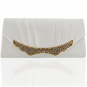 WOMENS BRIDAL CLUTCH BAG SPARKLY DIAMANTE EVENING HANDBAGS CRYSTAL WEDDING