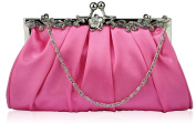 PINK SATIN STYLE CLUTCH BAG WITH A FLOWER DESIGN CLASP LSE0098