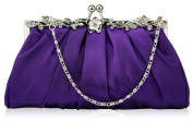 PURPLE SATIN STYLE CLUTCH BAG WITH A FLOWER DESIGN CLASP LSE0098