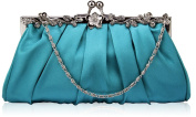 TURQUOISE SATIN STYLE CLUTCH BAG WITH A FLOWER DESIGN CLASP LSE0098