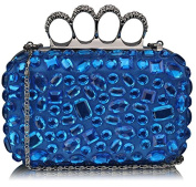 BLUE HARD CASE CLUTCH BAG WITH A FULL DIAMANTE DETAILING LSE00172
