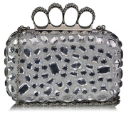 IVORY HARD CASE CLUTCH BAG WITH A FULL DIAMANTE DETAILING LSE00172