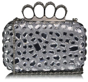SILVER HARD CASE CLUTCH BAG WITH A FULL DIAMANTE DETAILING LSE00172
