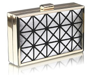 SILVER HARD CASE CLUTCH BAG WITH A ART DECO DESIGN DETAILING LSE0057