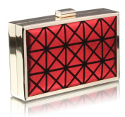 RED HARD CASE CLUTCH BAG WITH A ART DECO DESIGN DETAILING LSE0057