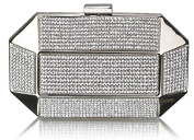 SILVER FULL DIAMANTE HARD CASE CLUTCH BAG WITH DIAMANTE DETAILING LSE0040