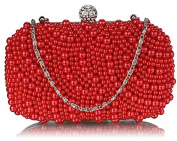 RED MULTI BEADING HARD CASE CLUTCH BAG WITH DIAMANTE DETAILING LSE00209
