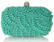 GREEN MULTI BEADING HARD CASE CLUTCH BAG WITH DIAMANTE DETAILING LSE00209