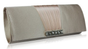 NUDE SATIN STYLE CLUTCH BAG WITH A GATHERED AND DIAMANTE DETAILING LSE0066