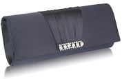 NAVY BLUE SATIN STYLE CLUTCH BAG WITH A GATHERED AND DIAMANTE DETAILING LSE0066