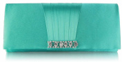 GREEN SATIN STYLE CLUTCH BAG WITH A GATHERED AND DIAMANTE DETAILING LSE0066