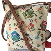 Owl Tapestry Messenger Bag, Beige Green Red Small Shoulder Bag ,Ladies Owls Crossbody Birds Bag